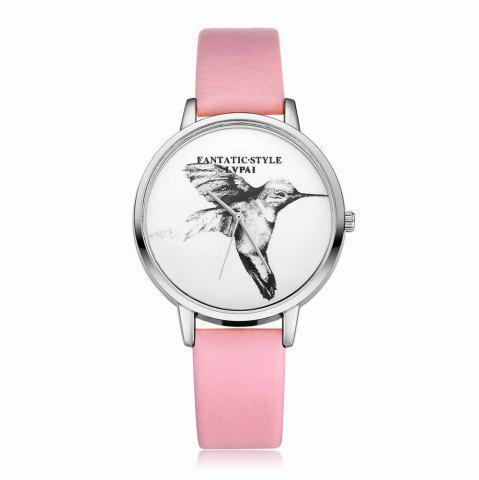 Outfits Lvpai P099-S Women Leather Strap Bird Dial Wrist Watch Silver Tone Bezel