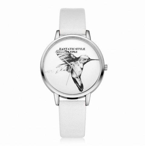 Trendy Lvpai P099-S Women Leather Strap Bird Dial Wrist Watch Silver Tone Bezel