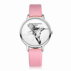 Lvpai P099-S Women Leather Strap Bird Dial Wrist Watch Silver Tone Bezel -