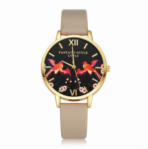 Store Lvpai P108-G Women Leather Band Birds Dial Quartz Watches