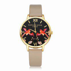 Lvpai P108-G Women Leather Band Birds Dial Quartz Watches -
