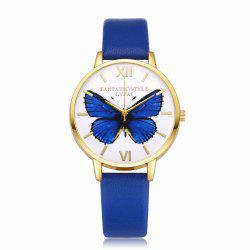 Lvpai P110-G Women Butterfly Dial Leather Band Quartz Watch Golden Tone Bezel -