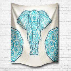 Blue Elephant of the Mandala 3D Digital Printing Home Wall Hanging Nature Art Fabric Tapestry for Bedroom Decorations -