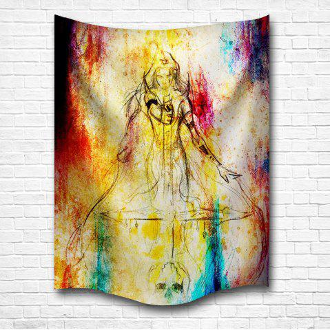 Chic Watercolor Woman Warrior 3D Digital Printing Home Wall Hanging Nature Art Fabric Tapestry for Bedroom Decorations