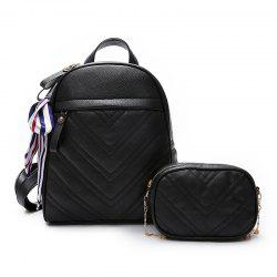 Lychee Leather Shoulder Bag Wild Scarf Ling Grid Backpack -