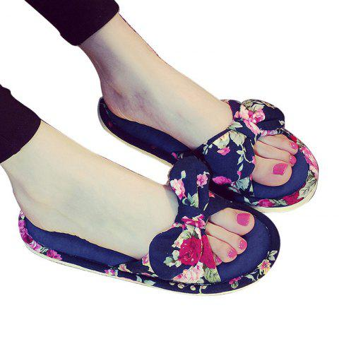 Best YJ001 Floral Bow Cute Women Home Soft Cotton Comfortable Slippers