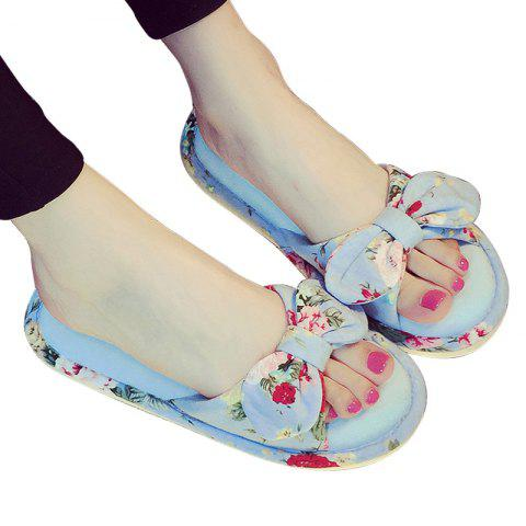 Trendy YJ001 Floral Bow Cute Women Home Soft Cotton Comfortable Slippers