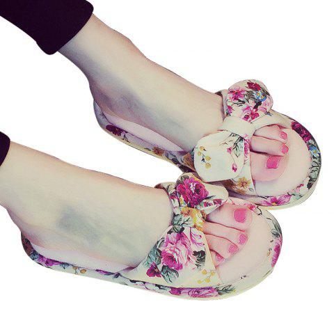 Chic YJ001 Floral Bow Cute Women Home Soft Cotton Comfortable Slippers