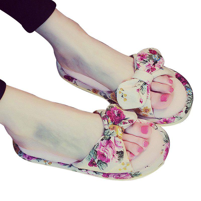 Cheap YJ001 Floral Bow Cute Women Home Soft Cotton Comfortable Slippers