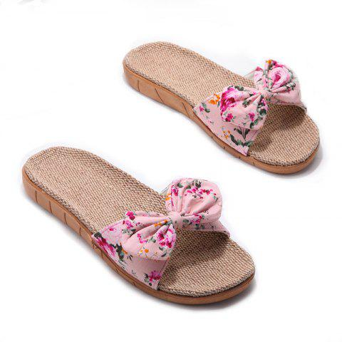 Discount YJ002 Women' Linen Slippers Fashion Deisgn Floral Bowknot Slippers
