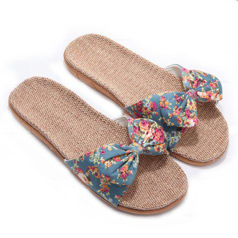 Fashion YJ002 Women' Linen Slippers Fashion Deisgn Floral Bowknot Slippers