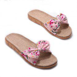 YJ002 Women' Linen Slippers Fashion Deisgn Floral Bowknot Slippers -