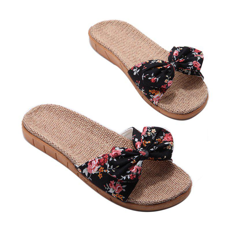Shop YJ002 Women' Linen Slippers Fashion Deisgn Floral Bowknot Slippers