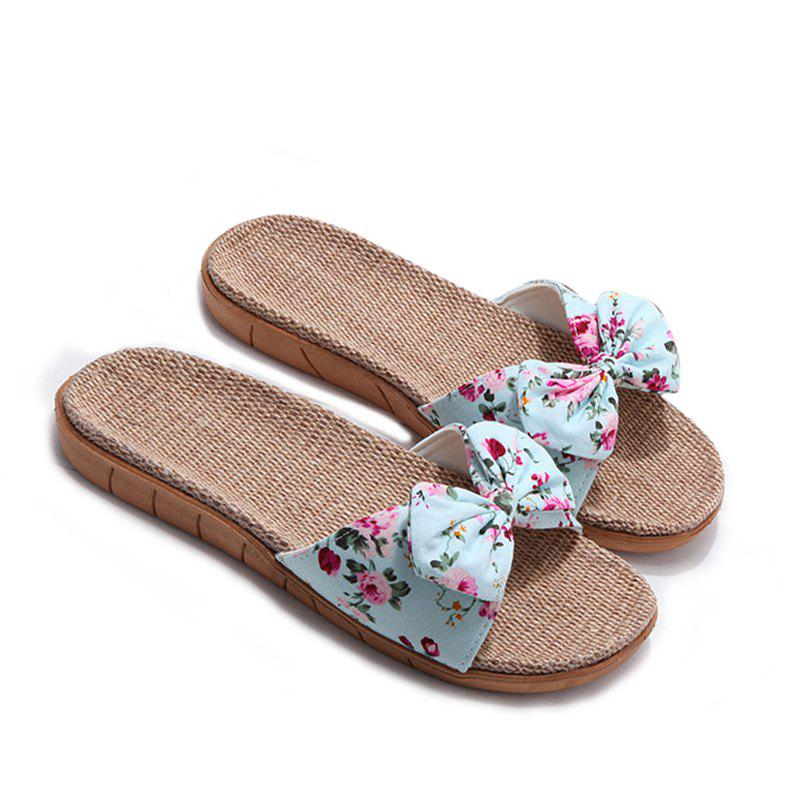 Sale YJ002 Women' Linen Slippers Fashion Deisgn Floral Bowknot Slippers