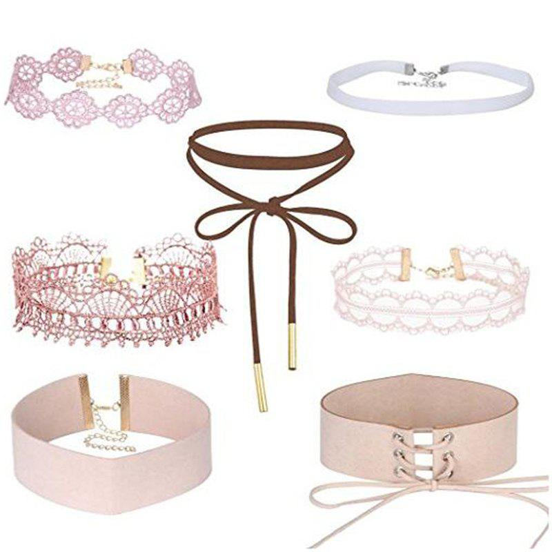 Chic 7 Pcs/Set Lace Flannel Gothic Style Choker Cute Girl Series Women New Necklace
