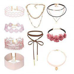 9PCS Flower Velvet Lace Pink Choker Set Belt Lace Up Necklace Set for Women Girls Teens Jewellry Gifts Set -
