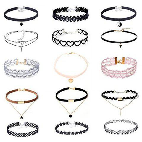Affordable 15 Pcs/Set Black Velvet Lace Choker Set With Pentagram Or Love Pendant Gothic Tattoo Adjustable Necklace For Women