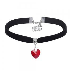 20 Pcs/Set Black Leather Double Layered Choker with Crystal Heart Pendant Gold Chain Velvet Lace Neck Collar Necklace -