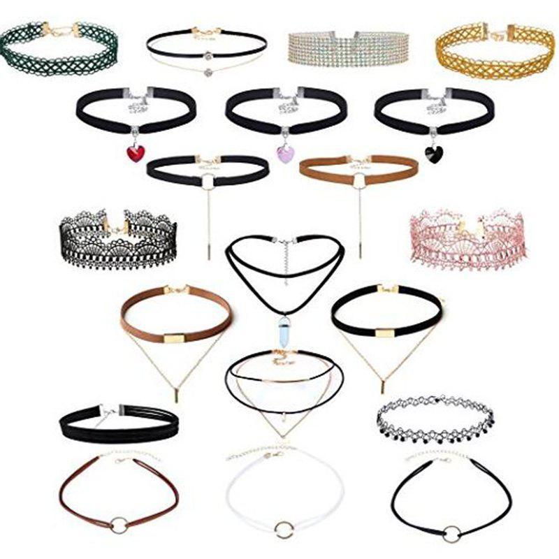 Hot 20 Pcs/Set Black Leather Double Layered Choker with Crystal Heart Pendant Gold Chain Velvet Lace Neck Collar Necklace