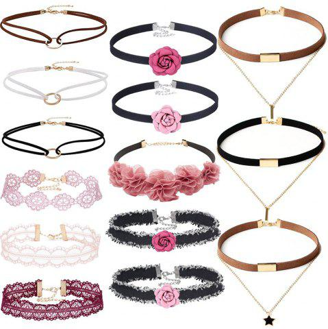 Affordable 14 PCS Double Layer Lace Velvet Choker Set Leather Pink Floral Necklace for Women Girls Teens Party Jewelry Set Gifts