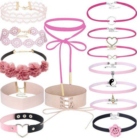 New 14 PCS Adjustable Lace Velvet Pink Necklace Set with Charms Pendant Flower Leather Choker Set for Women Girls