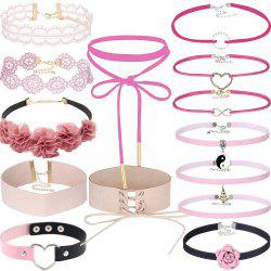 14 PCS Adjustable Lace Velvet Pink Necklace Set with Charms Pendant Flower Leather Choker Set for Women Girls -