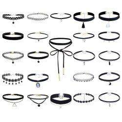 23 Pcs/Set Black Necklaces Sets Stretch Tatto Choker for Women Girls -
