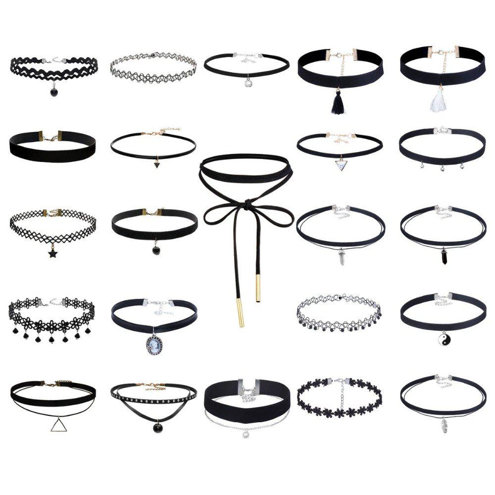 Affordable 23 Pcs/Set Black Necklaces Sets Stretch Tatto Choker for Women Girls