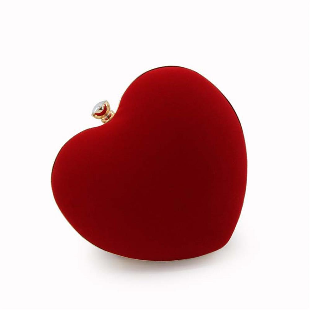 Sale The Explosion Of High-grade Velvert Heart-shaped Evening Clutch Bag