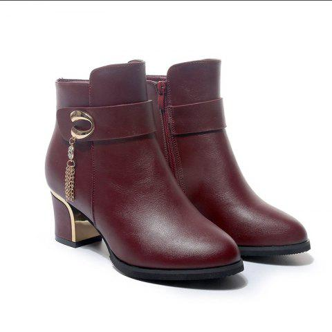Outfits New Ankle Boots High Thick and Waterproof Platform Round Head Metal Buckle Shoes