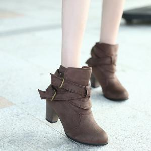 New Large Size High Heel and Round Head Belt Buckle Low Female Boots -
