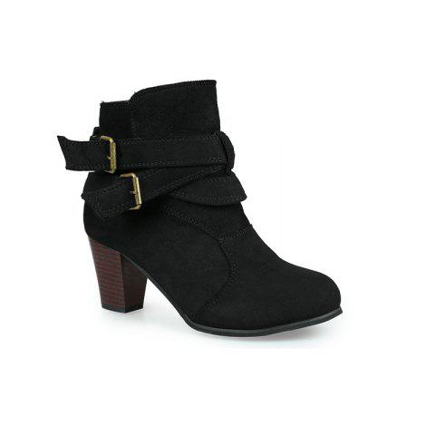 Discount New Large Size High Heel and Round Head Belt Buckle Low Female Boots