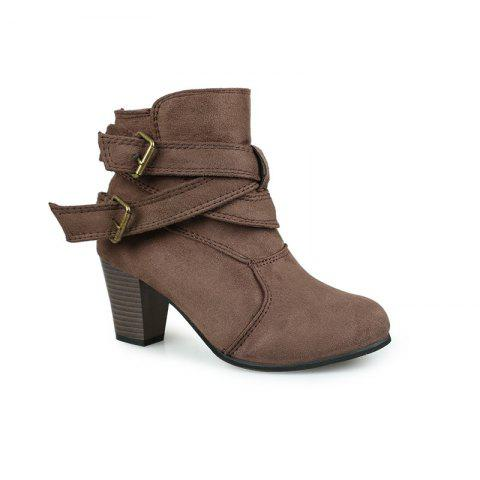 Hot New Large Size High Heel and Round Head Belt Buckle Low Female Boots