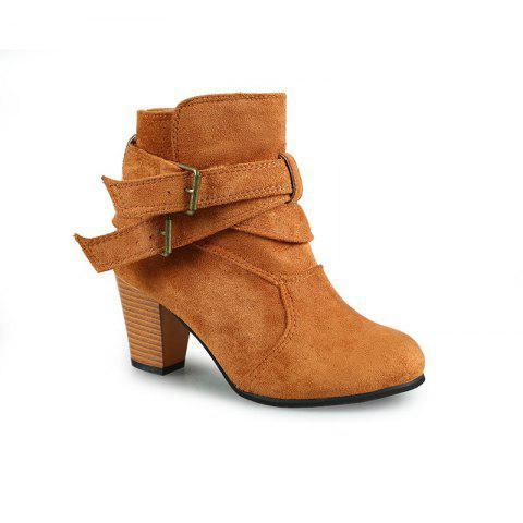 Shops New Large Size High Heel and Round Head Belt Buckle Low Female Boots