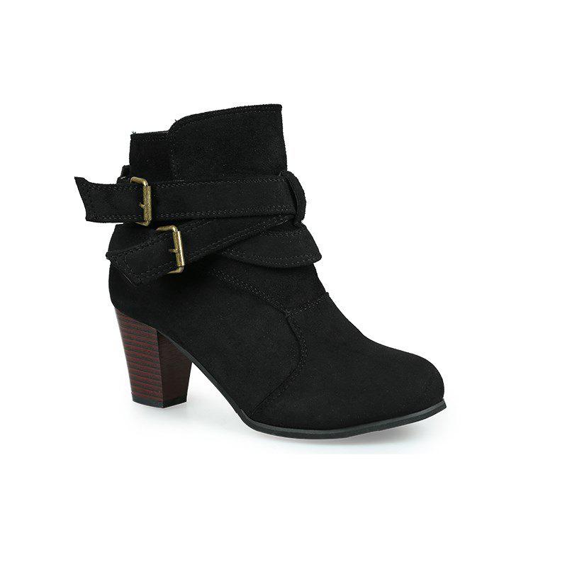 Fashion New Large Size High Heel and Round Head Belt Buckle Low Female Boots