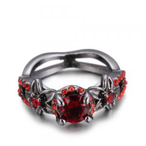 Red Zircon Black Gold Ring -