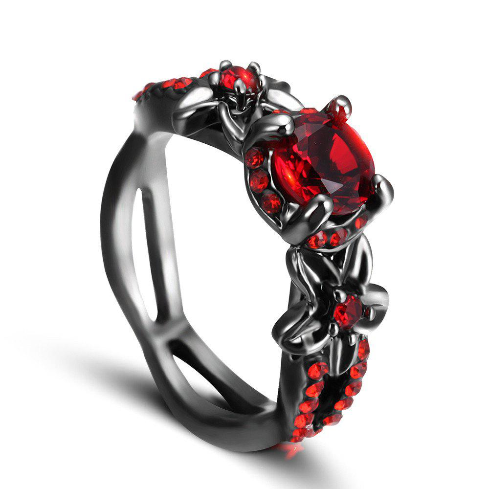 Discount Red Zircon Black Gold Ring