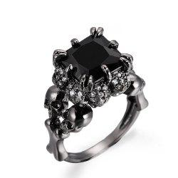 Punk Style Black Zircon Ladies Ring -