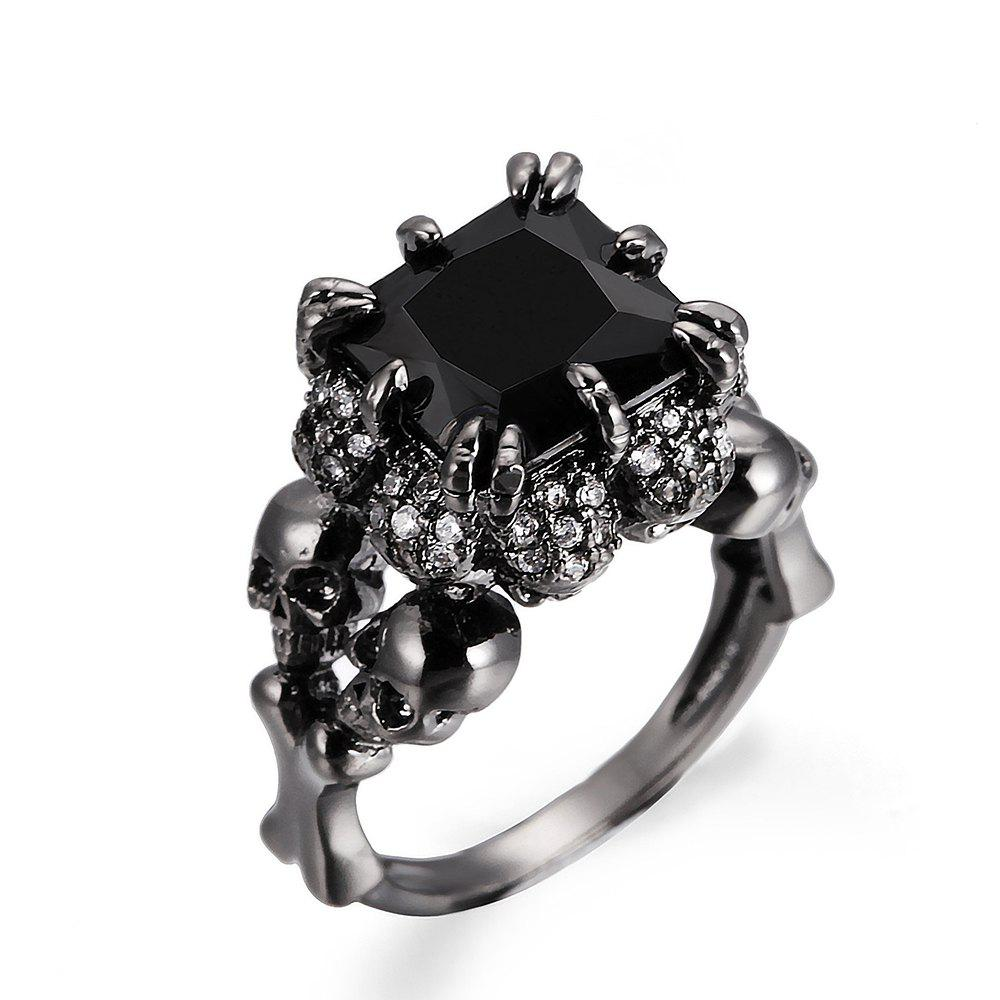 Outfits Punk Style Black Zircon Ladies Ring