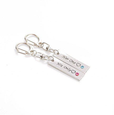 Shop Her One His Only Diamond Couple Key Ring