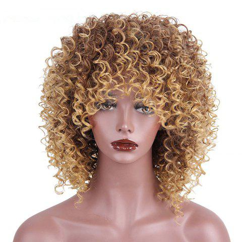 Shop CHICSHE High Temperature Fiber Mixed Brown Blonde Color Synthetic Short Hair Afro Kinky Curly Wigs
