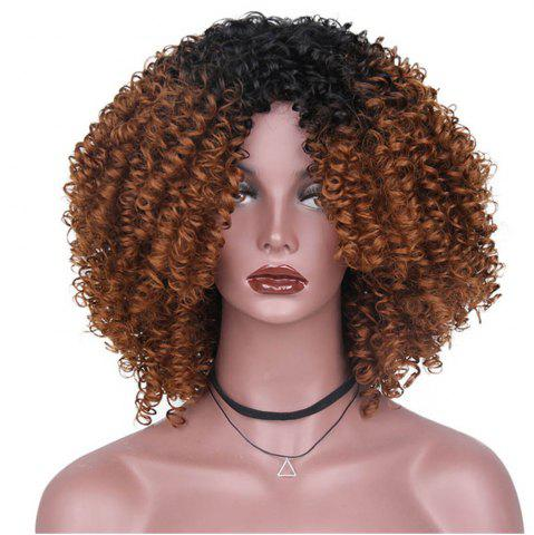 Fashion CHICSHE High Temperature Fiber Mixed Brown Blonde Color Synthetic Short Hair Afro Kinky Curly Wigs