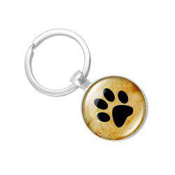 Puppy Footprints Glass Pendant Key Chain -