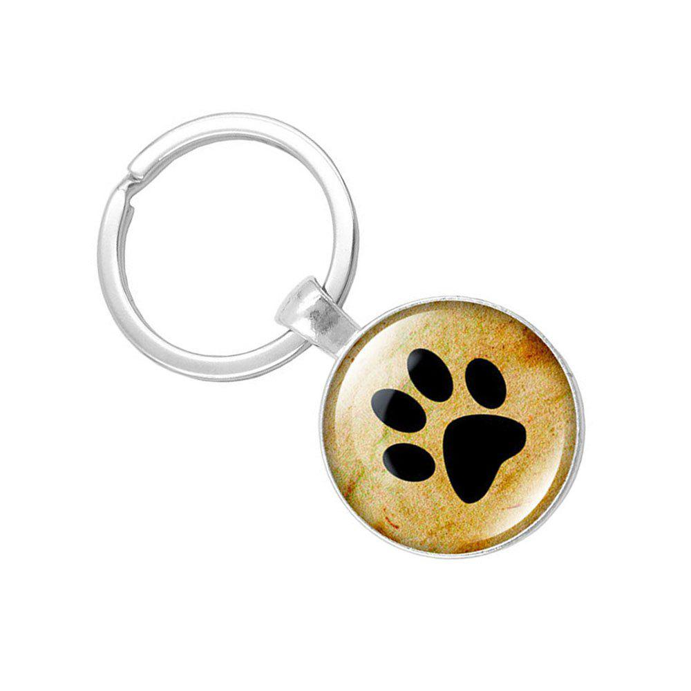 Latest Puppy Footprints Glass Pendant Key Chain