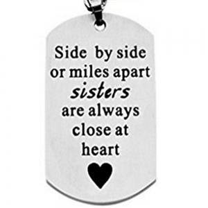 Side By Side Or Miles Apart Sisters Keychain -
