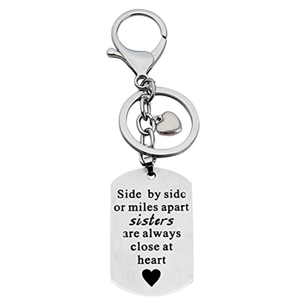 Unique Side By Side Or Miles Apart Sisters Keychain