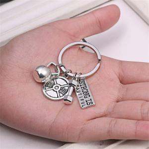 Power Sports Series Barbell Dumbbell Men and Women Couple Key Chain Jewelry -