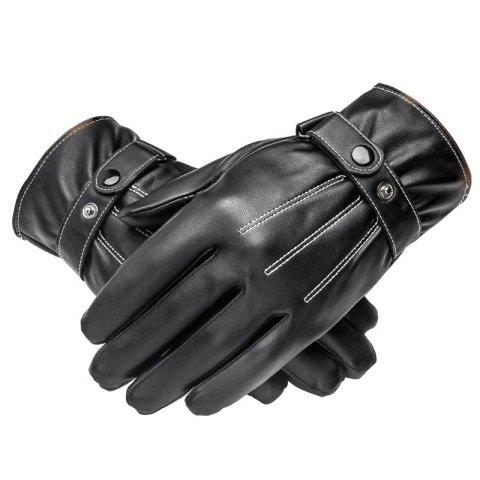 Fancy Men Cycling Autumn and Winter Plus Velvet Padded Outdoor Pu Leather Gloves