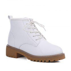Woman Retro Warm Wool Blend Lace-Up Martin Boots -