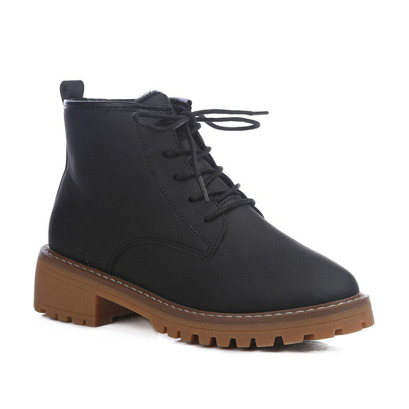 Buy Woman Retro Warm Wool Blend Lace-Up Martin Boots